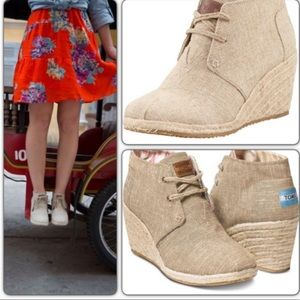 TOMS Espadrille Booties Wedge Canvas Desert Burlap